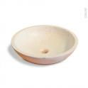Vasque salle de bains - RICIA - A poser - Terrazzo blanc cassé - Ronde