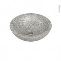 Vasque salle de bains - RICIA - A poser - Terrazzo gris béton - Ronde