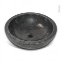Vasque salle de bains - SAMO - A poser - Marbre noir - Ronde