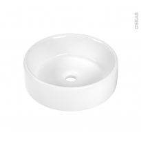 Vasque salle de bains - BALDE - A poser - Céramique blanche - Ronde