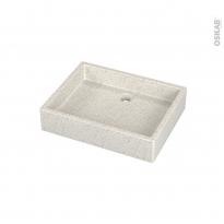Vasque salle de bains - CORY - A poser - Terrazzo blanc cassé - Rectangulaire