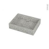 Vasque salle de bains - CORY - A poser - Terrazzo gris - Rectangulaire