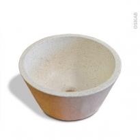 Vasque salle de bains - DEME - A poser - Terrazzo blanc cassé - Ronde