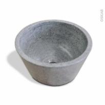 Vasque salle de bains - DEME - A poser - Terrazzo gris béton - Ronde