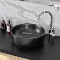 Vasque salle de bains - ELME - A poser - Céramique noire satinée - Ronde