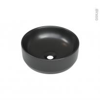 Vasque salle de bains ELME A poser, Céramique noire satinée, Ronde