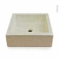 Vasque salle de bains - LUDWIG - A poser - Terrazzo blanc cassé - Carrée