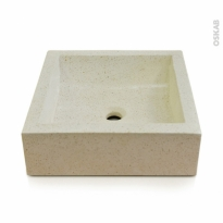 Vasque LUDWIG - Terrazzo - Blanc cassé - Carrée - A poser