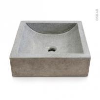 Vasque salle de bains - LUDWIG - A poser - Terrazzo gris béton - Carrée
