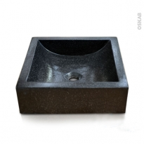Vasque salle de bains - LUDWIG - A poser - Terrazzo noir - Carrée