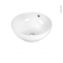 Vasque salle de bains - NUBIA - A poser - Céramique blanche - Bol