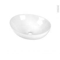 Vasque salle de bains - OVALIS - A poser - Céramique blanche - Ovale