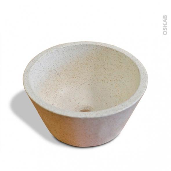 Vasque DEME - Terrazzo - Blanc cassé - Ronde - A poser
