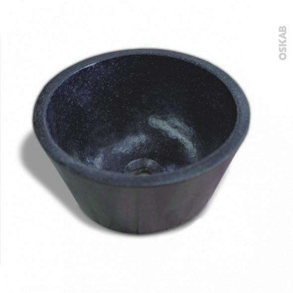 Vasque DEME - Terrazzo - Noir - Ronde - A poser