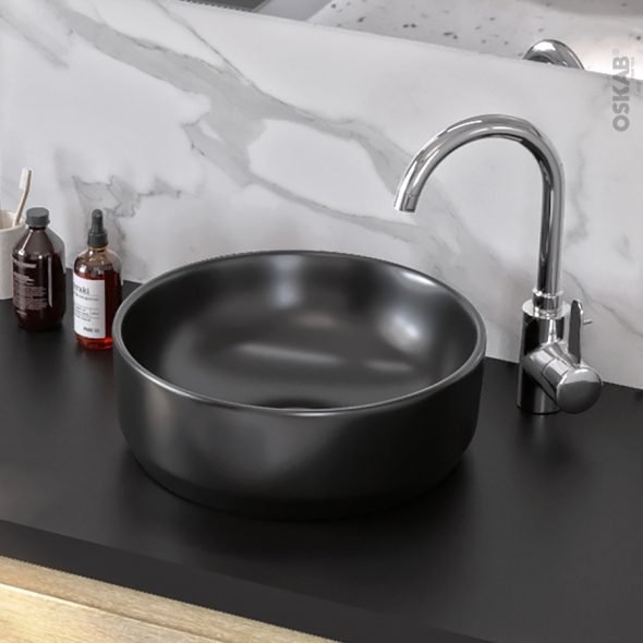 Vasque salle de bains ELME A poser Céramique noire satinée Ronde - Oskab