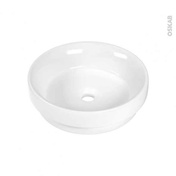 Vasque salle de bains - MYRIO - Semi-encastrée - Céramique blanche - Ronde