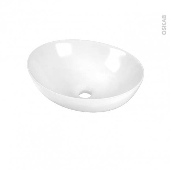 Vasque OVALIS - Céramique blanche - Ovale - A poser