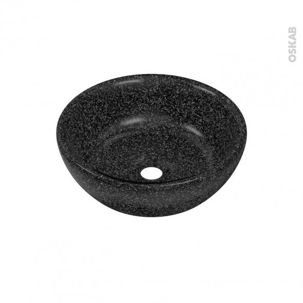Vasque THERA - Résine noire - Ronde - A poser