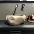 #Vasque salle de bains - PISTIA - A poser - Pierre de rivière - Forme variable - Diamètre 30cm