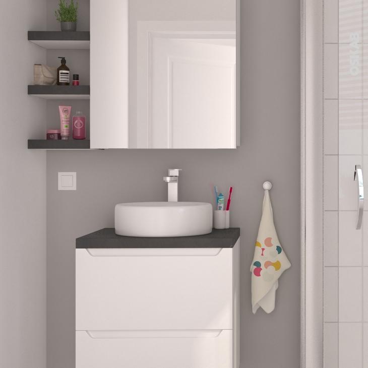 Vasque salle de bains balde a poser c ramique blanche ronde oskab - Vasque salle de bain ronde ...