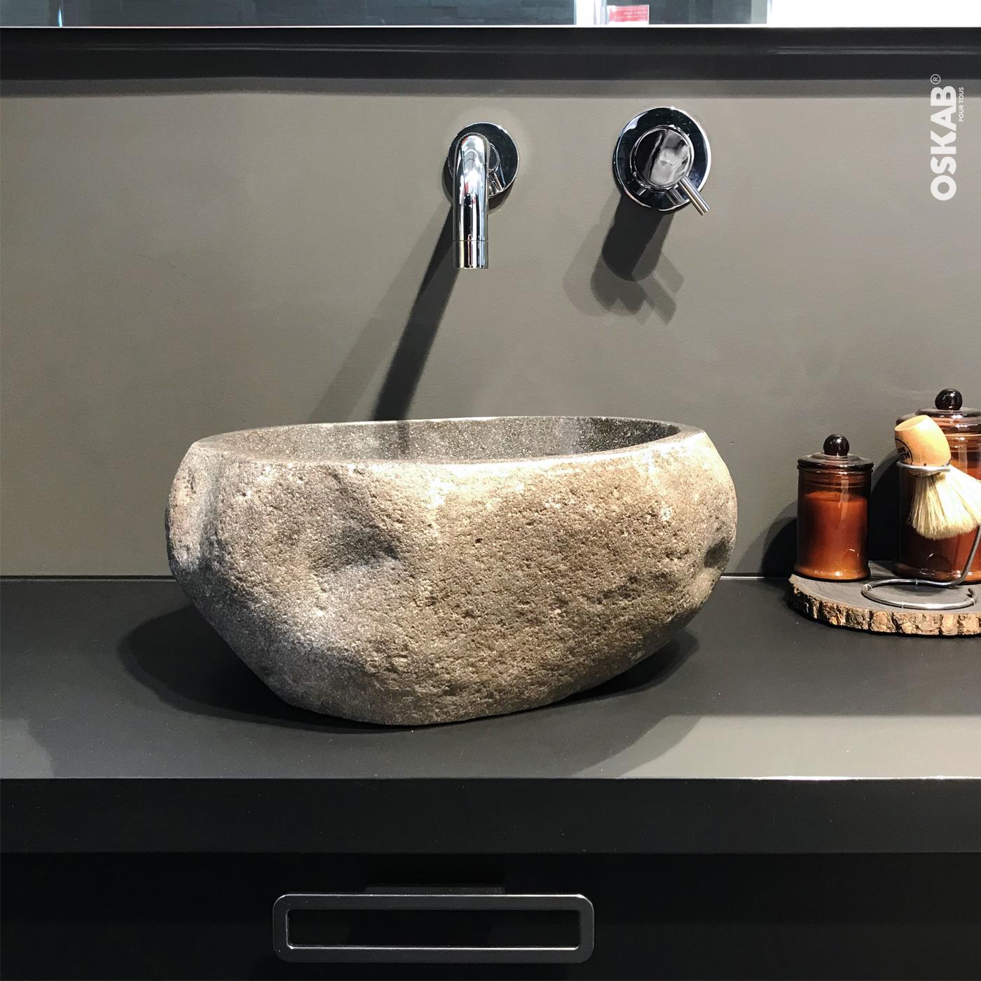 vasque salle de bains pistia a poser pierre de rivière
