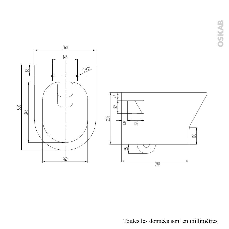 cuvette wc suspendu idao sans bride oskab. Black Bedroom Furniture Sets. Home Design Ideas