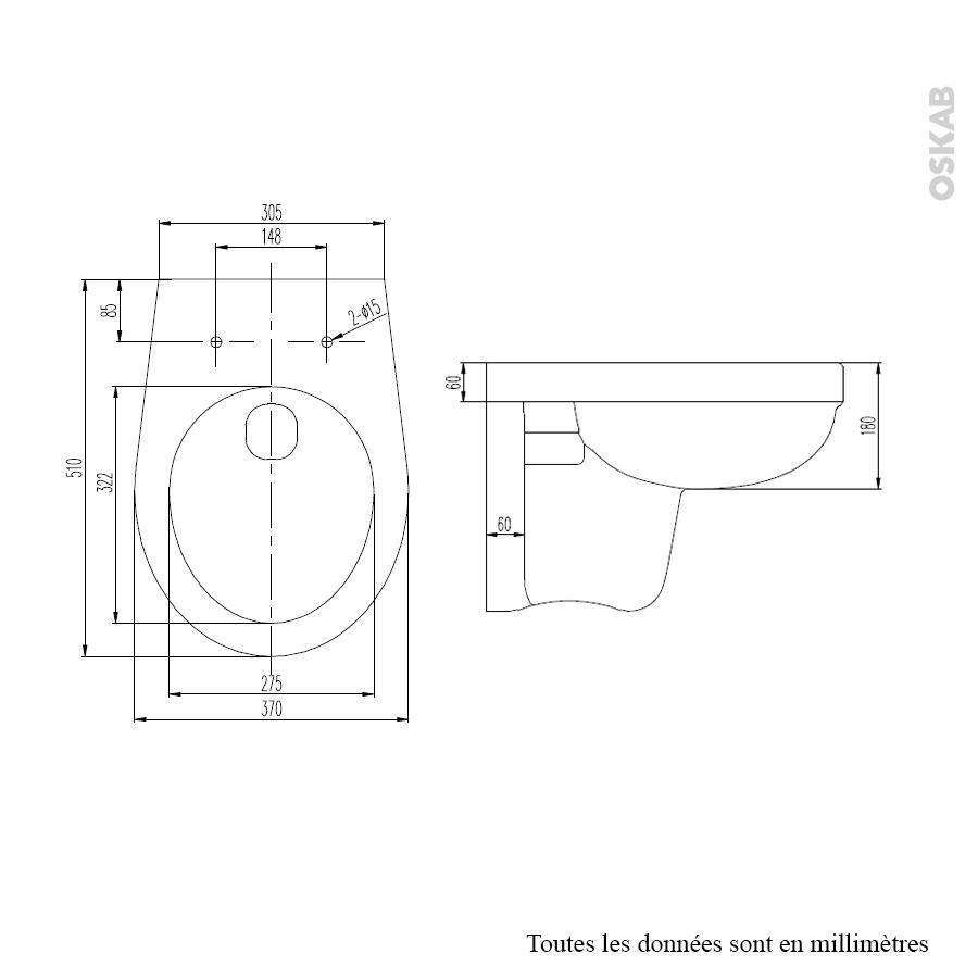 cuvette wc suspendu scala sans bride oskab. Black Bedroom Furniture Sets. Home Design Ideas