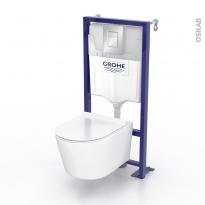Pack WC suspendu - Bâti universel GROHE - Cuvette NIAGA - Sans bride - Plaque chromée