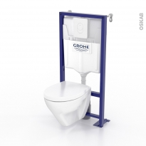 Pack WC suspendu - Bâti universel GROHE - Cuvette ZAPA - Plaque blanche
