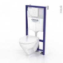 Pack WC GROHE suspendu - Bâti mural Rapid SL - Cuvette ZAPA - Plaque blanche