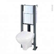 Pack WC suspendu - Bâti universel Compact WIRQUIN - Cuvette MURA - Plaque blanche