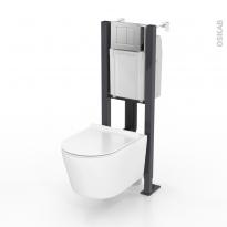 Pack WC suspendu - Bâti universel compact WIRQUIN - Cuvette NIAGA - Sans bride - Plaque chromée mate