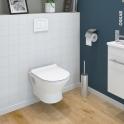 Pack WC suspendu - Bâti universel compact WIRQUIN - Cuvette IDAO - Sans bride - Plaque blanche
