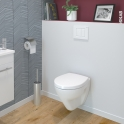 Pack WC suspendu - Bâti universel compact plus WIRQUIN - Cuvette ZAPA - Plaque blanche