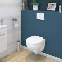 Pack WC suspendu - Bâti universel compact WIRQUIN - Cuvette SCALA - Sans bride - Plaque blanche