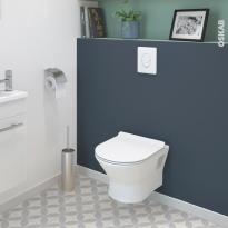 Pack WC suspendu - Bâti universel GROHE - Cuvette IDAO - Sans bride - Plaque blanche