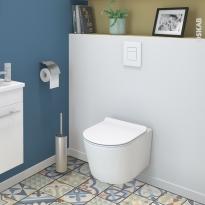 Pack WC suspendu - Bâti universel GROHE - Cuvette NIAGA - Sans bride - Plaque blanche