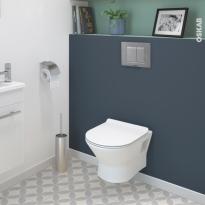 Pack WC suspendu - Bâti universel compact plus WIRQUIN - Cuvette IDAO - Sans bride - Plaque chromée mate