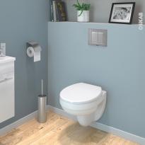 Pack WC suspendu - Bâti universel compact plus WIRQUIN - Cuvette SCALA - Sans bride - Plaque chromée mate