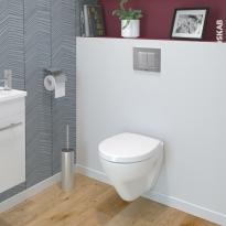 Pack WC suspendu - Bâti universel compact plus WIRQUIN - Cuvette ZAPA - Plaque chromée mate