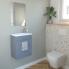 #Meuble lave-mains - FUJI Bleu gris - Avec miroir et robinet - L44 x P26 x H55,4 cm