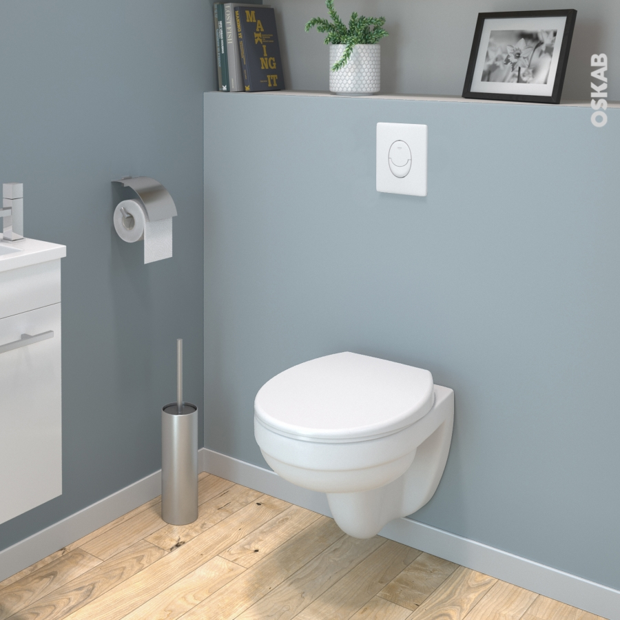pack wc suspendu b ti mural grohe cuvette scala sans bride plaque blanche oskab. Black Bedroom Furniture Sets. Home Design Ideas