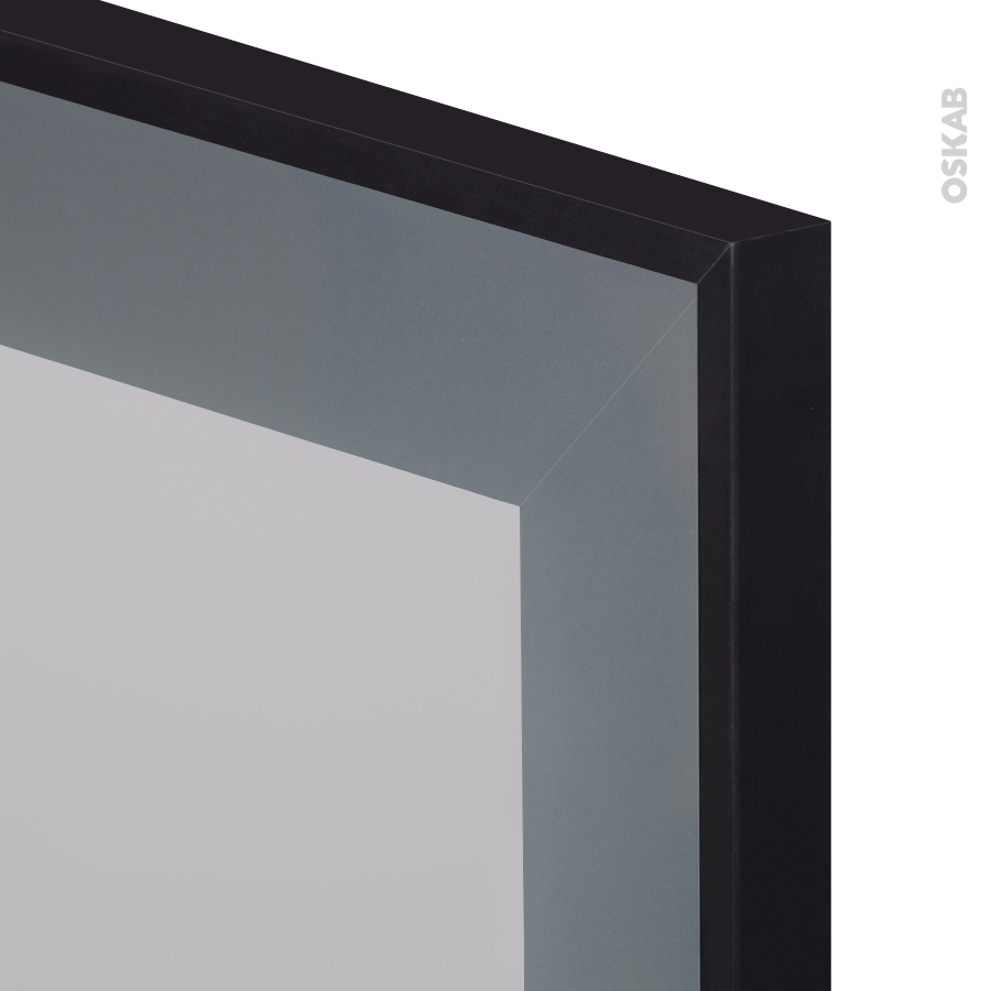 Meuble de cuisine bas vitr fa ade noire alu 1 porte l60 x for Porte alu noir